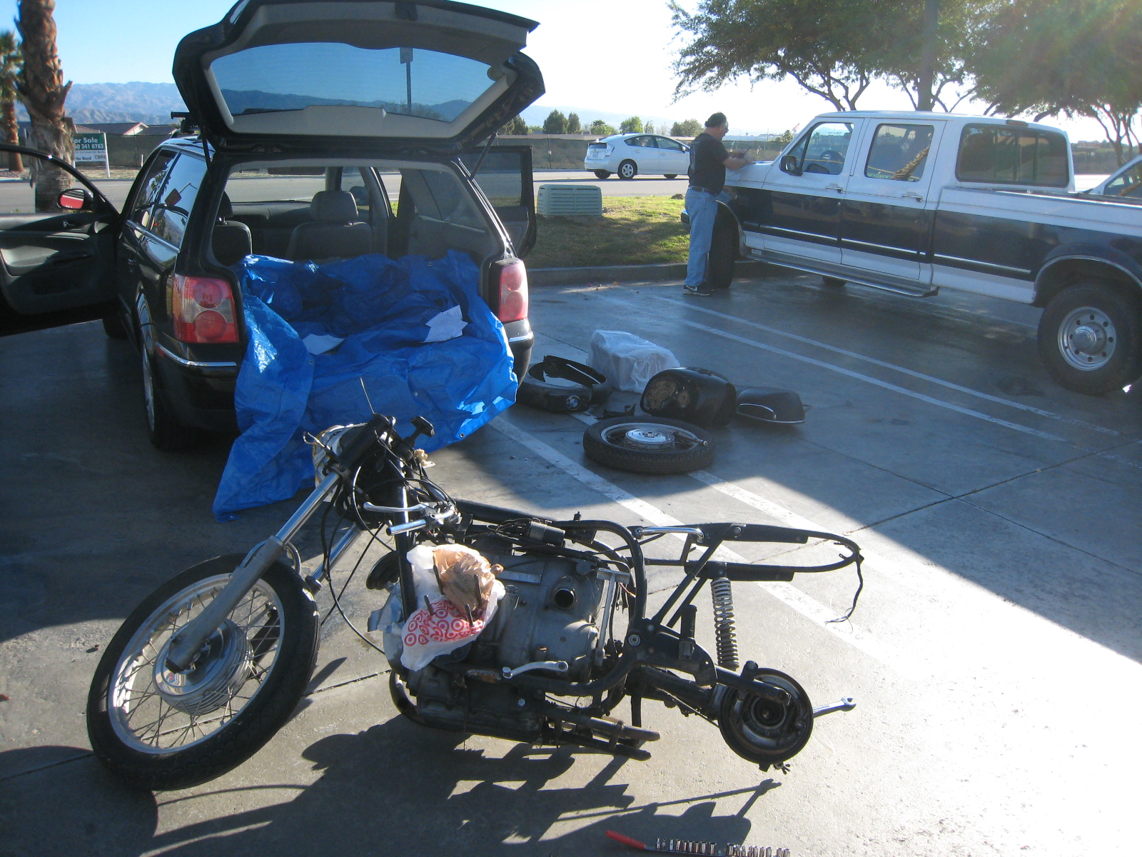 parking lot bike disassembly