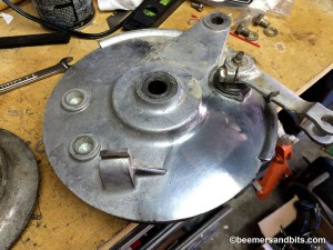 Bridgestone 175 rear brake hub.  Looks like it will polish up OK.