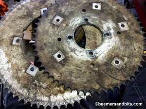 Bridgestone 175HS rear sprockets.  I can't wait to clean these up.  They are a nice feature on the bike.