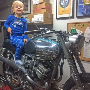 My helper today with my 1967 Bridgestone 175 HS custom restoration