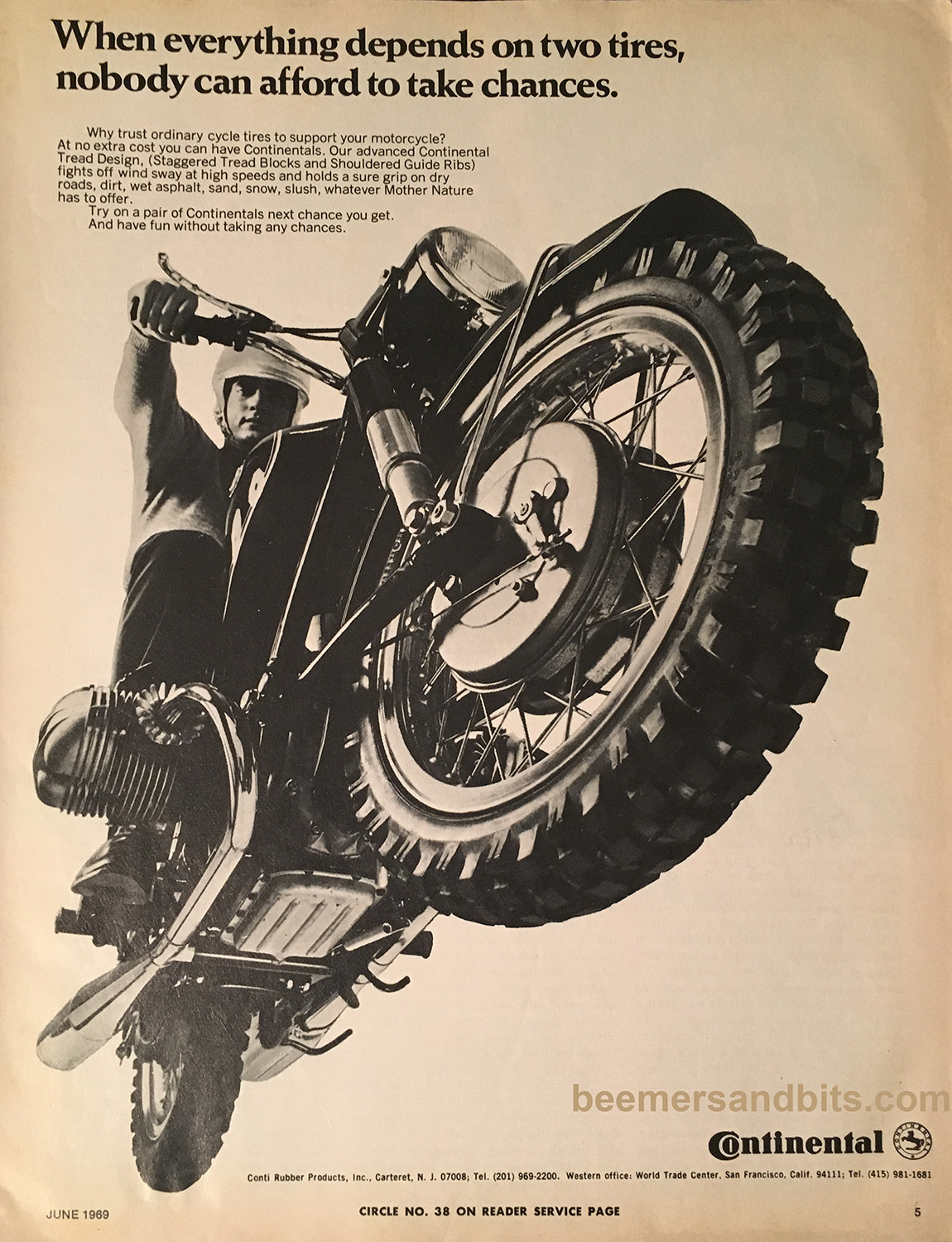 Continental Tires ad with a /2 BMW - 1969