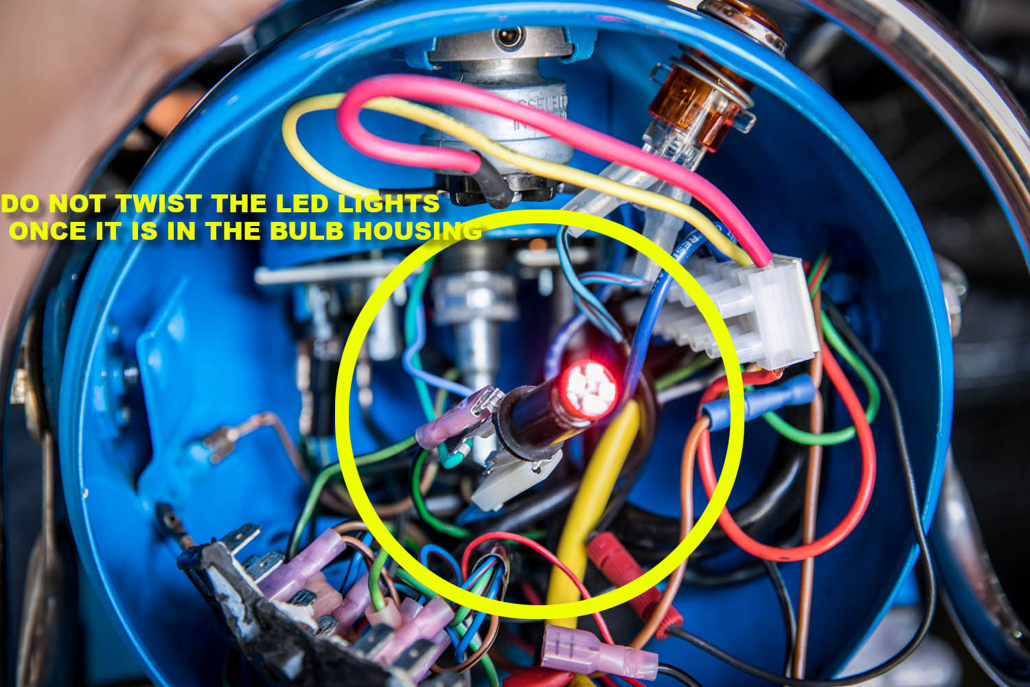 Headlight Beemers And Bits Led Ke Light Turn Signal Wiring Diagram There Are Additional Wires With Resistors Added To Allow The Generator Voltage Activate Bulb Same Goes For