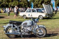 Break in rides without the sidecar to the annual vintage BMW car show